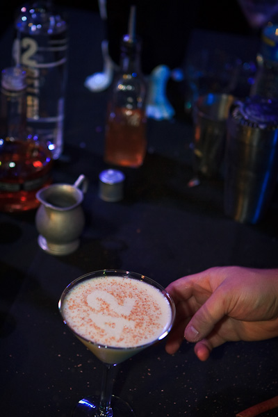 A true 42Below cocktail, sprinkled on top was cinnamon and nutmeg over a stencil.